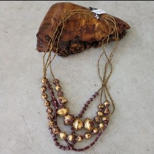 NWT 31 Bits Anthropologie burgundy gold layers